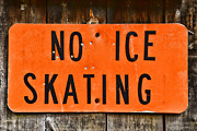 Old Skates Posters - No Ice Skating  Poster by Paul Ward