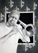 Jazz Band Pastels - NOLA Trombone by Steve Ellenburg