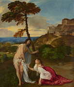 Gospel Framed Prints - Noli me Tangere Framed Print by Titian