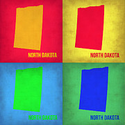 World Map Digital Art Metal Prints - North Dakota Pop Art Map 1 Metal Print by Irina  March