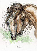 Horse Drawing Painting Prints - Nose To Nose Watercolor Painting Print by Angel  Tarantella
