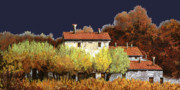 Wine Country. Painting Prints - Notte In Campagna Print by Guido Borelli