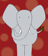 Christy Beckwith - Nursery Art Elephant Red