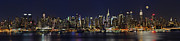 Nightscapes Framed Prints - NYC Skyline Full Moon Panorama Framed Print by Susan Candelario