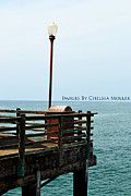 Lightpole Framed Prints - Ocean Scene Framed Print by Chelsea Mollak