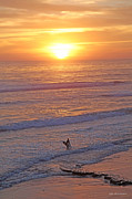 Good Luck Mixed Media Metal Prints - Ocean Sunset Surf  Metal Print by Alex Khomoutov