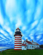 Photomanipulation Photo Prints - October Sky at Quoddy Head Enhanced Print by ABeautifulSky  Photography