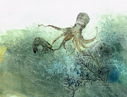 Fish Rubbing Prints - Octopus And Shrimp Print by Nancy Gorr