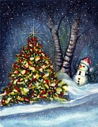 Snowfall Paintings - Oh my. A Christmas tree by Janine Riley