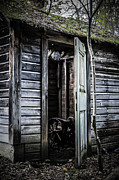 Shed Photo Prints - Old abandoned well house with door ajar Print by Edward Fielding