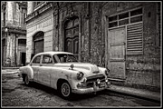 Havana Posters - Old Chevy Car in Cuba Black and White Poster by Edward Fielding