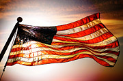 Old Glory Mixed Media Metal Prints - Old Glory Forever Metal Print by Beverly Guilliams