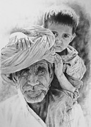 Drawing Painting Originals - Old Indian and child by Julian Wheat