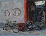 Occupy China Prints - Old Man and His Bike Print by Xueling Zou