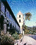Saint Barbara Mixed Media Posters - Old Mission Santa Barbara Walkway Poster by Glenn McNary