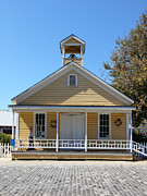 Old School House Photo Prints - Old Sacramento California Schoolhouse 5D25543 Print by Wingsdomain Art and Photography