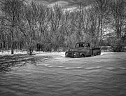 Rusty Pickup Truck Photos - Old Timer In The Snow by Thomas Young