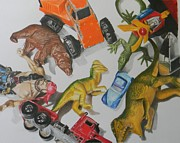 Toys Drawings - Old Toys by Devin Viele
