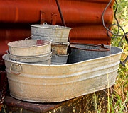 Wash Tubs Posters - Old tubs and buckets Poster by Rod Jorgensen