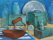 Wooden Bowl Paintings - Old Useful Containers by Lynne Summers