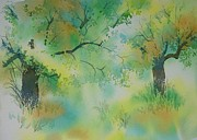 Greece Watercolor Paintings - Olive grove 4 by Thomas Habermann
