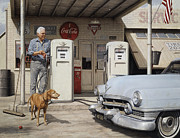 Pumps Painting Prints - On Route 66 Print by Ron Crabb