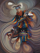 Native American Painting Metal Prints - On Sacred Ground Series II Metal Print by Ricardo Chavez-Mendez
