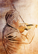 Digital Pastel Paintings - On Stage The Violinist by Angela A Stanton