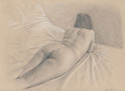 Female Form Prints - On The Bed Print by Eddie Torres