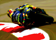 David Pucciarelli Collectible Art Drawings - On The Edge Valentino Rossi by Iconic Images Art Gallery David Pucciarelli