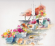 Flower Boxes Paintings - On The Stoop by Pat Katz