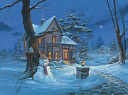 Snowman Posters - Once Upon A Winters Night Poster by Michael Humphries