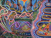 Ayahuasca Art Paintings - Ondas de la Ayahuasca by Pablo Amaringo