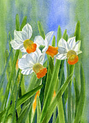 Sharon Freeman Art - Orange Daffodils with Background by Sharon Freeman