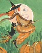 Flying Witch Prints - Orange Witch Print by Sylvia Pimental