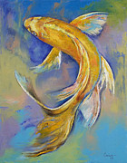 Koi Painting Posters - Orenji Butterfly Koi Poster by Michael Creese