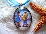 Watercolor Jewelry Originals - Oval Glass Art Pendant with Children on the Beach by Maureen Dean
