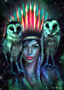 Indian Digital Art - Owls by Slaveika Aladjova