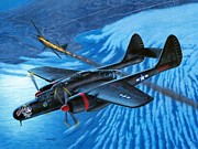 Aircraft Paintings - P-61 Black Widow  Caught in the Web by Stu Shepherd