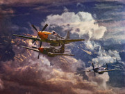 World War Art - P51 Mustang Airplane Formation by Shawna Mac