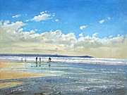 Shimmering Posters - Paddling at the Edge Poster by Timothy  Easton