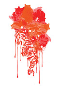 Red Tiger Prints - Painted tiger Print by Budi Satria Kwan