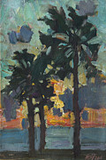 Modern Russian Art Posters - Palms sea and sunset Poster by Juliya Zhukova
