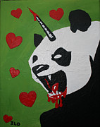 Growling Painting Prints - Pandacorn Print by Ian Oliver