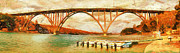 Locations Painting Prints - Panoramic view of bridge in Cuba Print by Odon Czintos