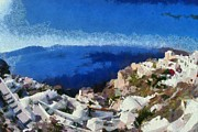 Vacation Photos - Panoramic view of Oia town by George Atsametakis