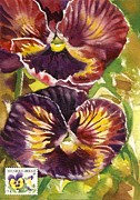 Alfred Ng - Pansy Watercolor With Stamp