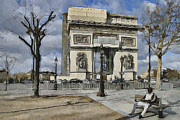 Old Town Digital Art Prints - Paris Streets 2 Print by Yury Malkov