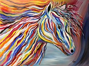 Painted Feathers Paintings - PASSION Bold and Colorful Horse Head by Janice Rae Pariza