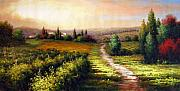 Napa Valley Vineyard Paintings - Path Home through the Vineyard Tuscany by Munoz